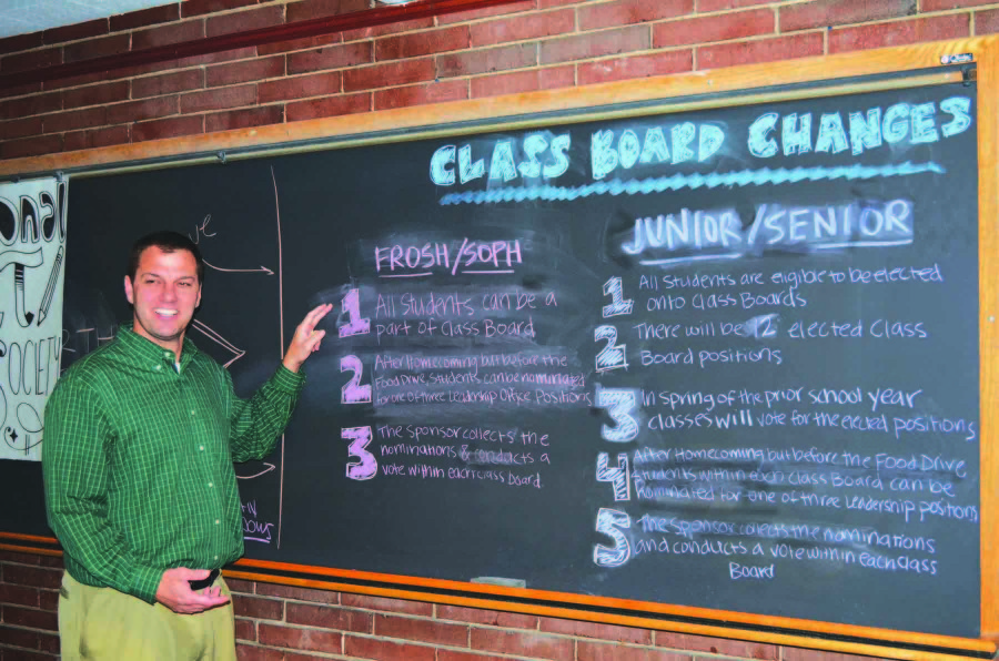Michael Tarjan, assistant principal for student activities, explains the changes made to the class boards of all grade levels. Because a pilot program run by current class boards was deemed successful, the changes are set to be extended so that membership could expand to an anticipated 20 to 30 people. The class boards host events throughout the school year, such as the Splash Bash.