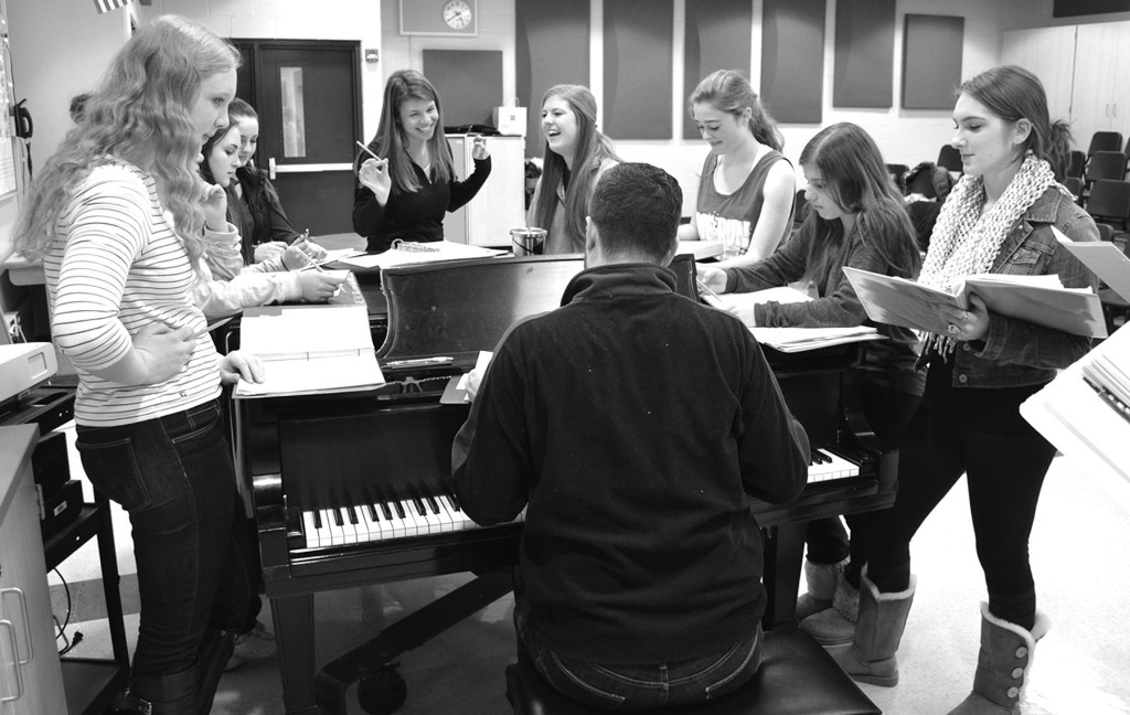 Members of Fermata Nowhere rehearse on Tuesday Jan. 6 for the upcoming Variety Show. This extracurricular choir recorded a short parody that aired on Monday Night Football prior to a Chicago Bears game. Photo by Gabe Weininger