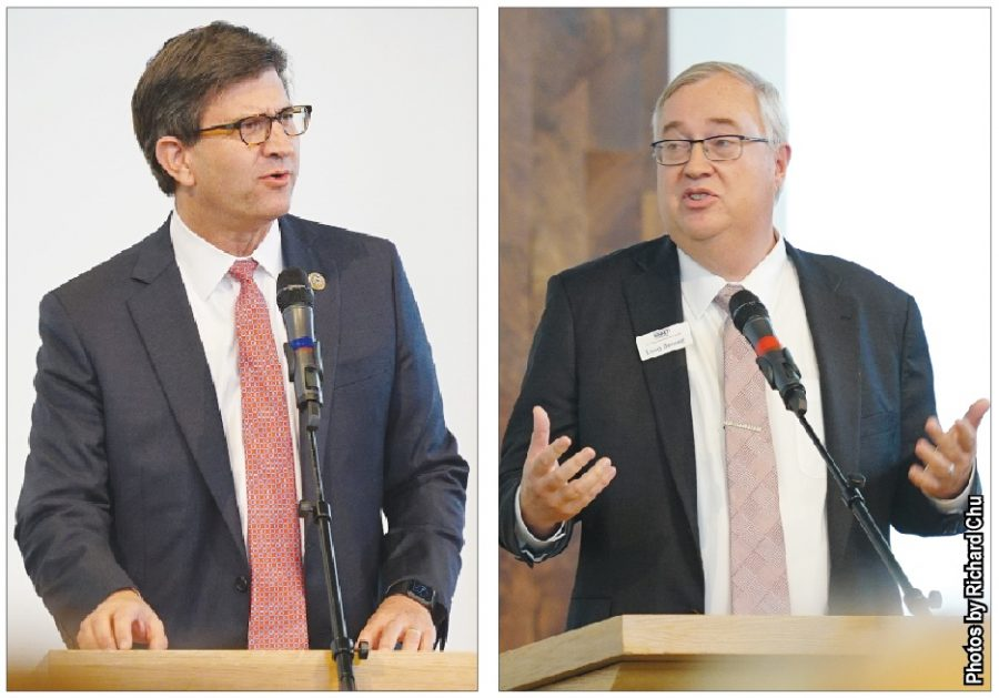 Congressman+Brad+Schneider%2C+D-Ill.+%28left%29+and+Republican+opponent+Doug+Bennett+deliver+speeches+at+the+North+Shore+Jewish+Community+Candidate+Forum+on+Oct.+14.+As+the+election+date+has+approached%2C+students+have+found+ways+to+be+involved+in+these+political+races+such+as+interning+for+candidates.+Photos+by+Richard+Chu