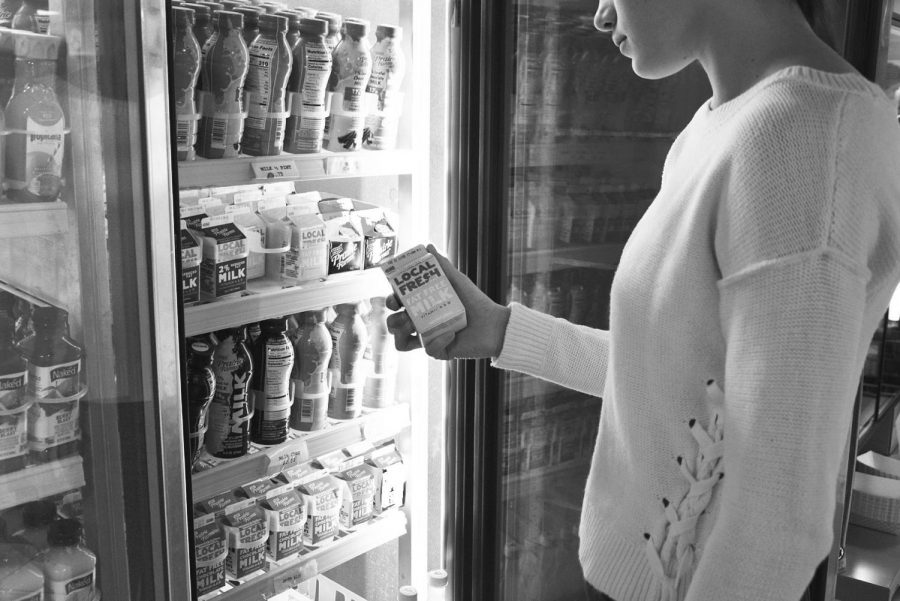 A student looks at dairy options for purchase. Dairy has many effects on the body, but there is no clear consensus among experts on whether dairy is healthy or unhealthy.