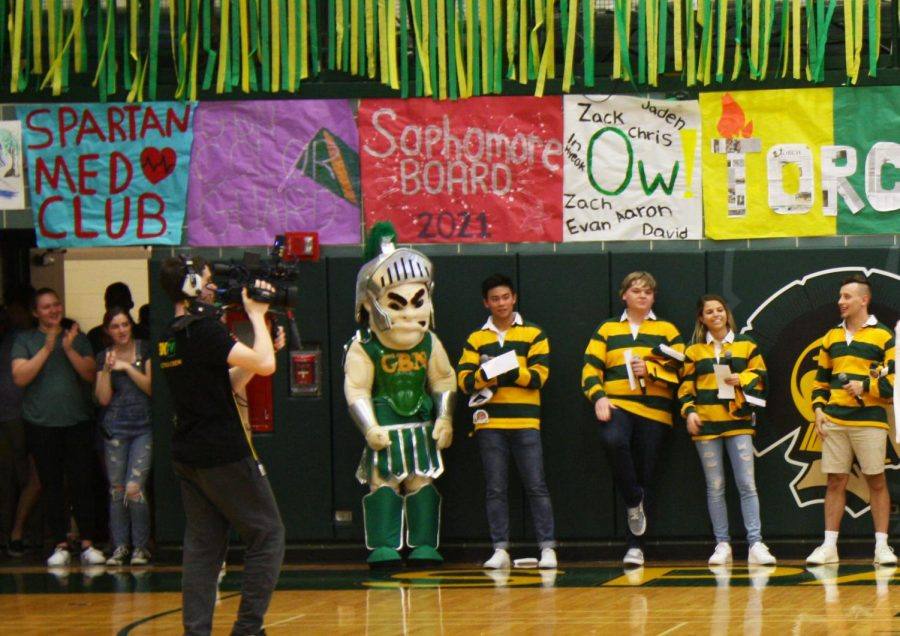 Sparty Jones stands next to the 2018-1019 SA board members at the Pride Assembly on April 18, 2019. Photo by Alexandra Chertok
