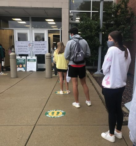 Students line up to take the ACT at Glenbrook North on Sept. 12. In response to the COVID-19 pandemic, GBN held an additional school day ACT on Tuesday Oct. 6. The Oct. 6 ACT was only available for the Class of '21. Photo by Rachel Katz.