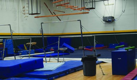 The gymnastics gym remains largely empty during an open gym on Oct. 29. About 10 percent of the IHSA member schools have a girls gymnastics team. Photo by Haley Sandlow