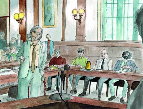 "Attorney William Kunstler questions a witness while four defendants await the outcome of the 1969 trial in ""The Trial of the Chicago 7."" Directed by Aaron Sorkin, the movie draws parallels to 2020's political climate. Graphic by Baeyoung Yoo"