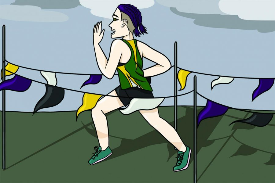 Nonbinary athletes may face internal struggles that impact their performance and cause heightened anxiety. Support from teammates, coaches and teachers can provide motivation which helps non-cisgender individuals push past these struggles. Graphic by Alex Garibashvily