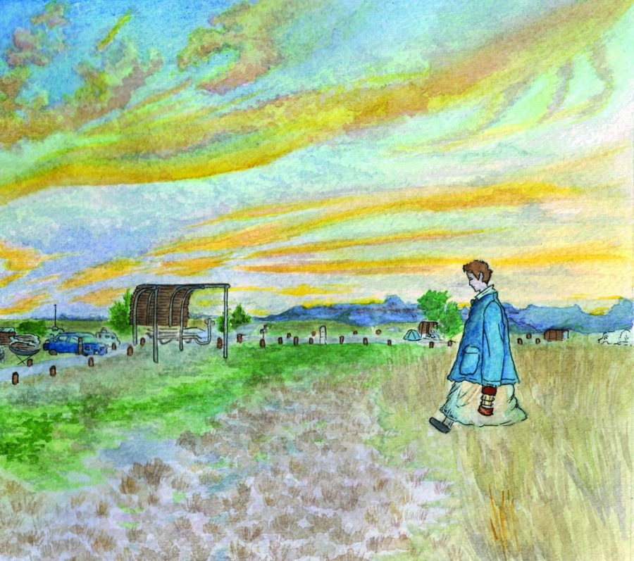 """In an illustration of a scene from """"Nomadland,"""" the main character, Fern, walks across a campground at sunset. The movie won two Golden Globes and was nominated for several Oscar categories. Graphic by Baeyoung Yoo"""