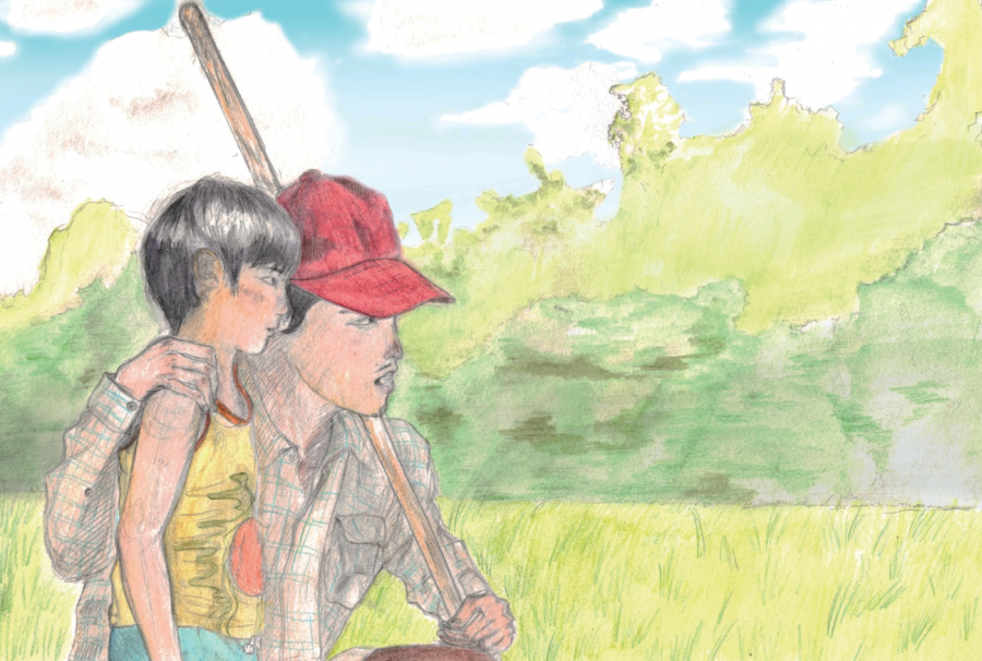 """In an illustration of a scene from """"Minari,"""" David Yi, played by Alan S. Kim, and his father Jacob Yi attempt to find a water source for their farm. Kim won the Critics Choice Award for Best Young Actor. Graphic by Baeyoung Yoo"""