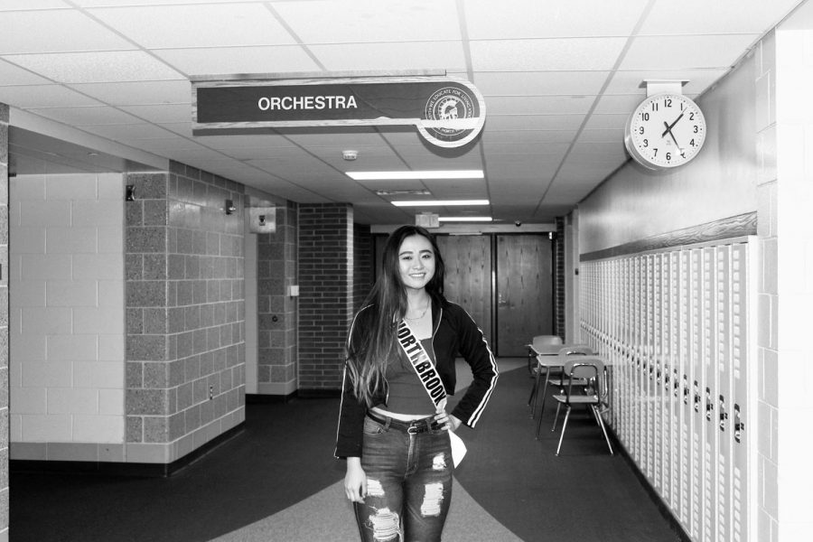 Senior Urie Han poses for a photo at Glenbrook North. Urie was nominated to compete as a contestant in the Miss Illinois Teen USA pageant during the first weekend of September.
