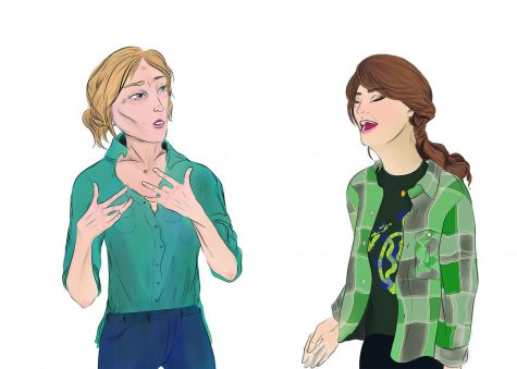 """In drawn recreations of two different scenes from """"CODA,"""" mother Jackie Rossi (left) talks in American Sign Language to her daughter, Ruby, about her passions. Ruby (right) sings in a school rehearsal. Graphic by Baeyoung Yoo"""